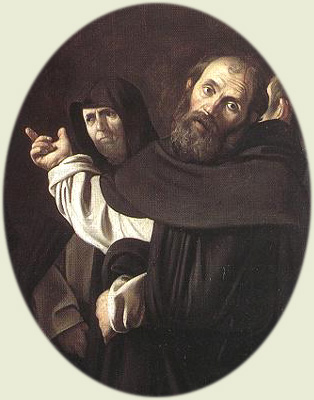 St. Thomas Aquinas and St. Peter of Verona, by Caravaggio («Madonna del Rosario», Kunsthistorisches Museum, Wien)
