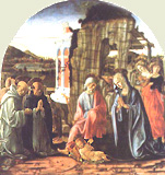 Thomas de Aquino adorans Christum in sua Nativitate a Francesco di Giorgio Martini depictus